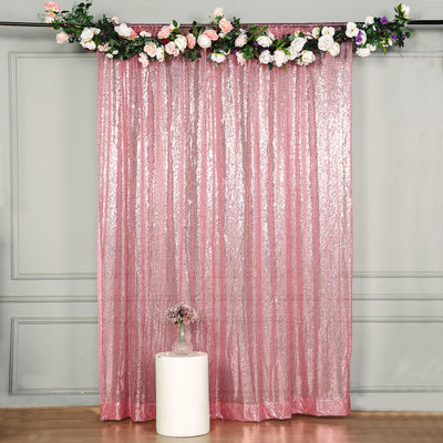 8 FT Pink Sequin Curtains | Photo Booth Backdrop | Photography Backdrops With Rod Pocket