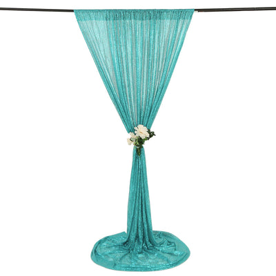 8 FT Turquoise Sequin Curtains | Photo Booth Backdrop | Photography Backdrops With Rod Pocket