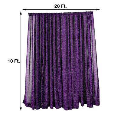 20FT x 10FT Purple Metallic Shiny Spandex Glittering Backdrop