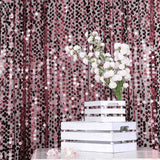 8Ft x 8Ft Burgundy Big Payette Sequin Curtains, Photo Booth Backdrop With Rod Pocket