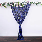 8Ft x 8Ft Navy Blue Big Payette Sequin Curtains, Photo Booth Backdrop With Rod Pocket
