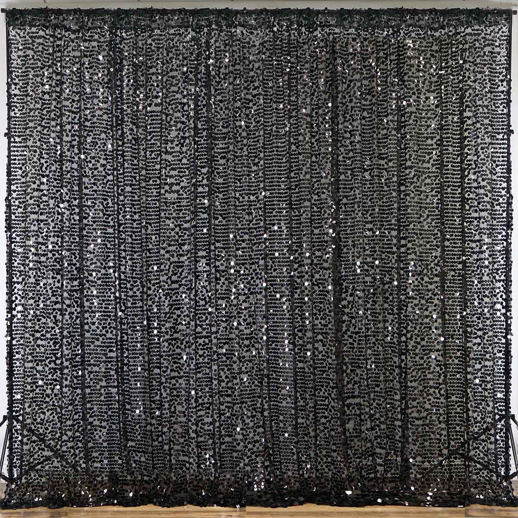 20ft Black Big Payette Sequin Curtain Panel Backdrop