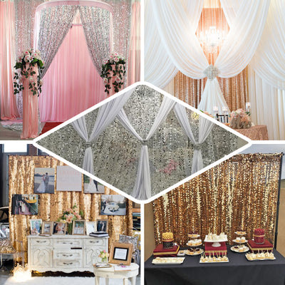 20FT Blush | Rose Gold Big Payette Sequin Curtain Panel Backdrop Wedding Party Photography Background - 1 PCS