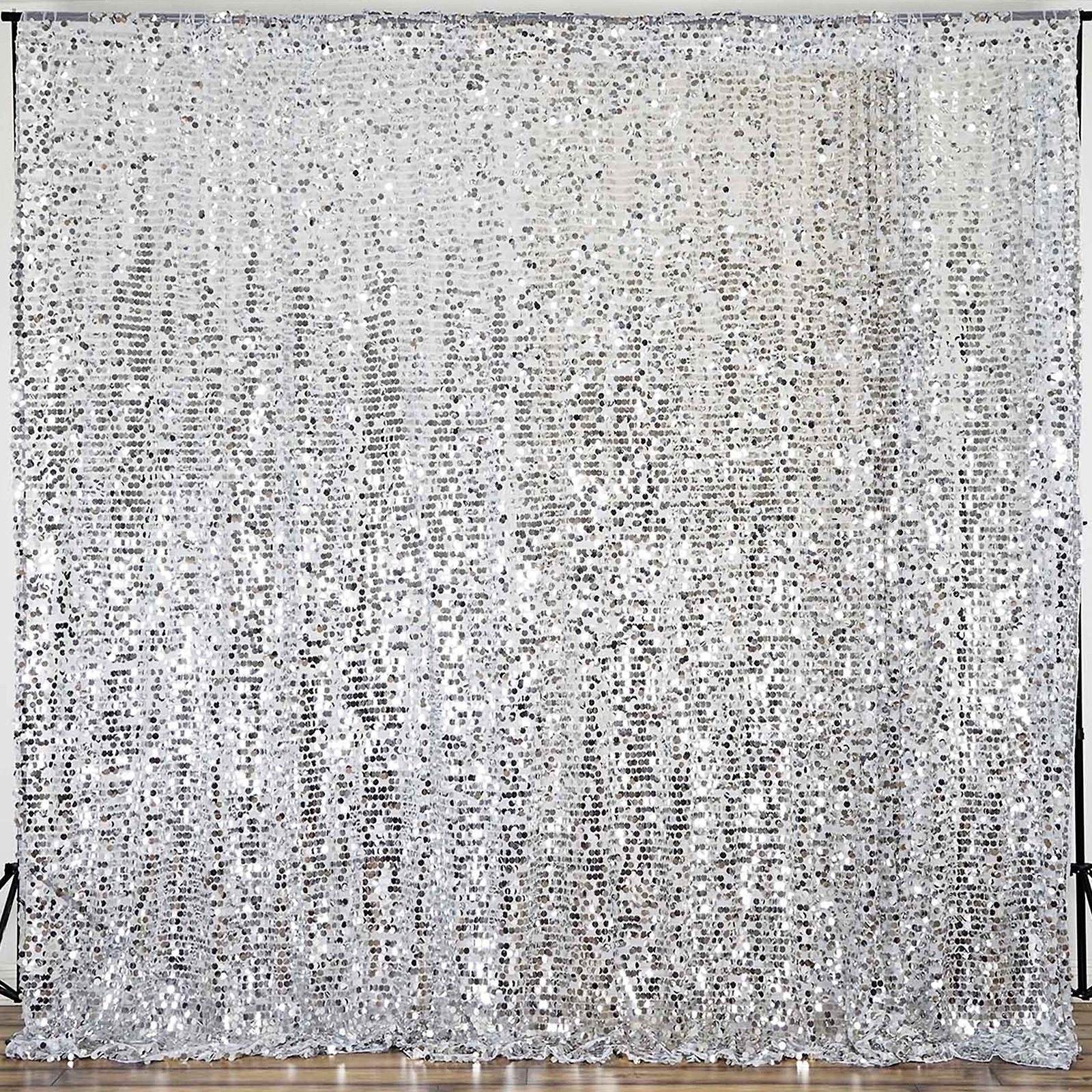 20ft Silver Big Payette Sequin Curtain Panel Backdrop