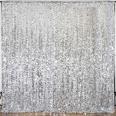 20FT Silver Big Payette Sequin Curtain Panel Backdrop Wedding Party Photography Background - 1 PCS