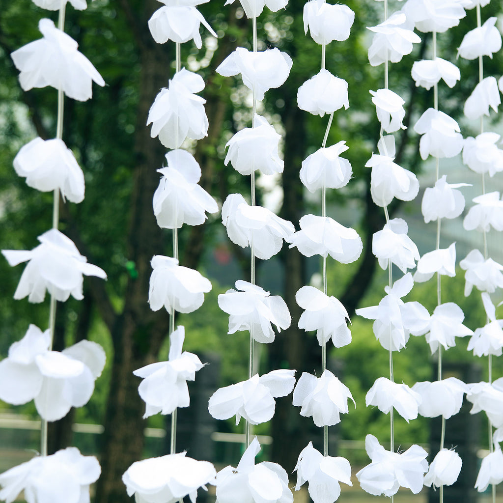 6FT White Silk Hanging Flower Garland Backdrop Curtain