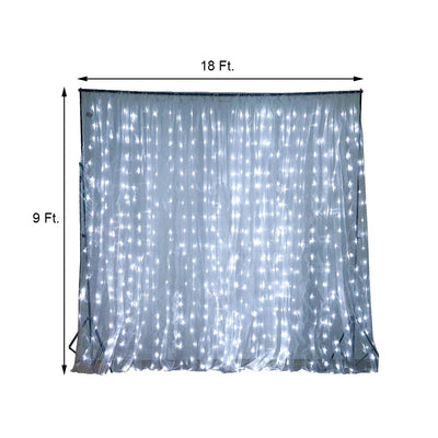 18FT x 9FT | 600 Sequential Cool White LED Lights With White Organza BIG Photography Curtain Backdrop