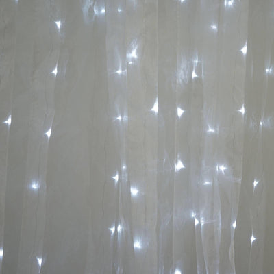 600 LED Lights HUGE Wedding Party Organza Curtain Backdrop - White - 20FT x 10FT
