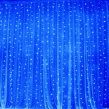 600 LED Lights HUGE Wedding Party Organza Curtain Backdrop - Blue - 20FT x 10FT