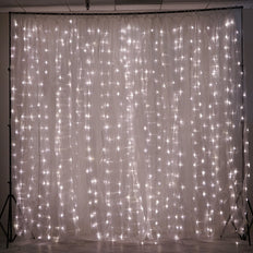 18FT x 9FT | 600 Sequential Warm White LED Lights With White Organza BIG Photography Curtain Backdrop
