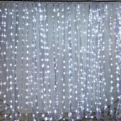 600 Sequential Silver LED Lights BIG Wedding Party Photography Organza Curtain Backdrop - 20FT x 10FT