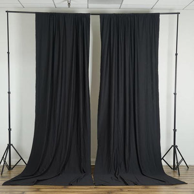 Pack of 2 | 5FTx10FT Black Fire Retardant Polyester Curtain Panel Backdrops With Rod Pockets