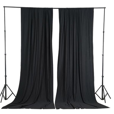 2 Pack | 5FTx10FT Black Fire Retardant Polyester Curtain Panel Backdrops With Rod Pockets