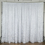 20ft x 10ft Satin Ruffle Wedding Party Event Photography Backdrop - White
