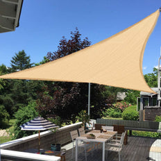 16FT Tan Triangle Sun Shade Sail, UV Block Canopy For Outdoor Patio Backyard