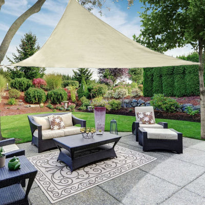 20FT Ivory Triangle Sun Shade Sail, UV Block Canopy For Outdoor Patio Backyard