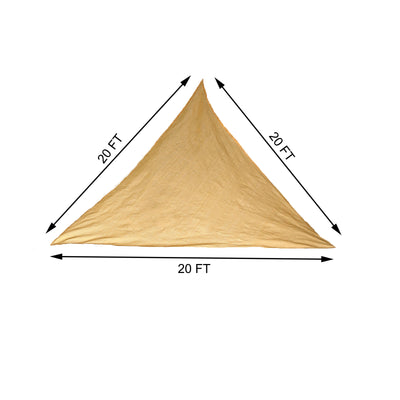 20FT Tan Triangle Sun Shade Sail, UV Block Canopy For Outdoor Patio Backyard