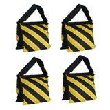 4 Pack Double Zipper Nylon Sand Weight Saddle Bag For Light Backdrop Stands Tripods - Yellow/Black