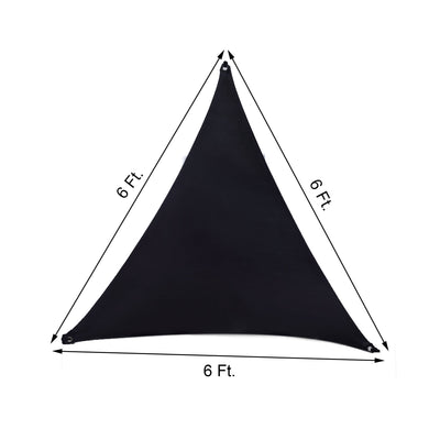 Triangle Tarps for Shade | 6FT 3 Point | Black Stretchy Spandex Backdrops | Ceiling Wall Patio Sails with Grommets