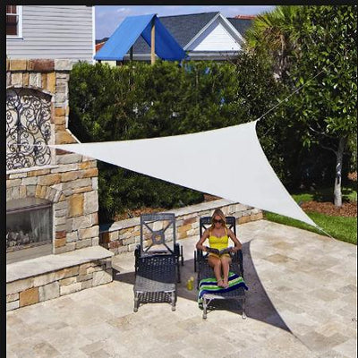 Triangle Tarps for Shade | 6FT 3 Point | White Stretchy Spandex Backdrops | Ceiling Wall Patio Sails with Grommets