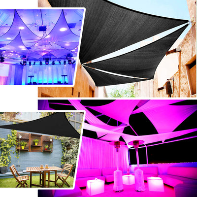 Triangle Tarps for Shade | 6 Ft 3 Point | White Stretchy Spandex Backdrops | Ceiling Wall Patio Sails with Grommets