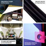 Triangle Tarps for Shade | 6 Ft 3 Point | Black Stretchy Spandex Backdrops | Ceiling Wall Patio Sails with Grommets