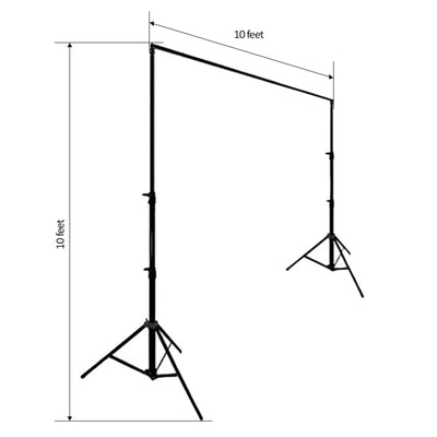 10FT x 10FT Adjustable Heavy Duty Pipe and Drape Kit Photography Backdrop Stand
