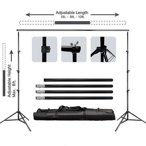 8FT x 10FT - DIY Crossbar Adjustable Backdrop Stand Kits - Portable Metal Photo Booth Backdrop Stand with FREE Clips