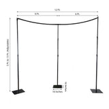 3 PC Set | 11FT x 13FT DIY Height Adjustable Curved Backdrop Stand - Heavy Duty Metal Backdrop Stand Kit - Semi Circle Photo Booth