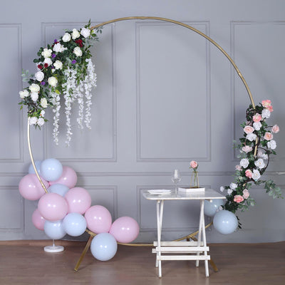 7 FT Tall | Gold Round Metal Wedding Arch | Photo Booth Backdrop Stand