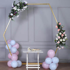 8 FT Tall - Gold Hexagonal Metal Wedding Arch, Photo Booth Backdrop Stand