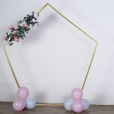 8FT Tall | Gold Pentagonal Metal Wedding Arch | Photo Booth Backdrop Stand