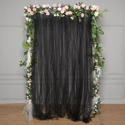 5 FT x 10 FT | Double Sided Tulle Backdrop Sheer Curtain Panels with Satin Rod Pockets | Black