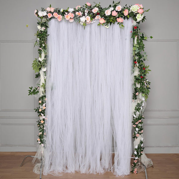 5FT x 10FT | Double Sided Tulle Backdrop Sheer Curtain Panels with Satin Rod Pockets | White