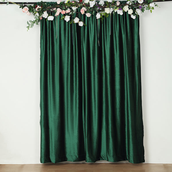 8Ft H x 8Ft W Hunter Green Premium Velvet Backdrop Curtain Panel Drape