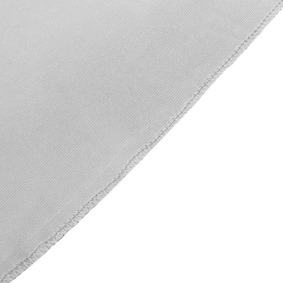 8Ft H x 8Ft W Silver Premium Velvet Backdrop Curtain Panel Drape | TableclothsFactory