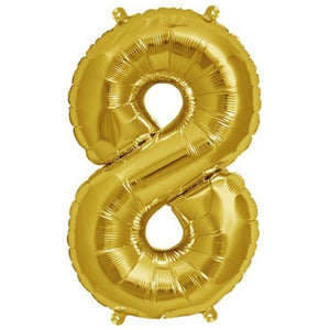 "16"" Shiny Gold Mylar Foil Number Balloons - 8"