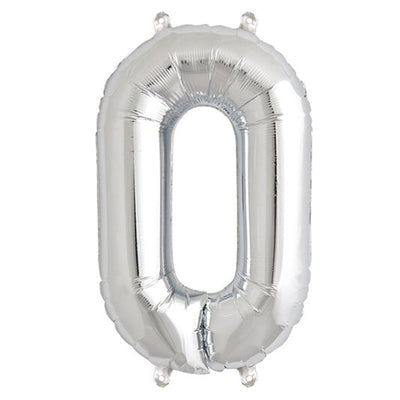 "16"" Silver Foil Mylar Balloons Numbers - 0"