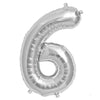 "16"" Silver Foil Mylar Balloons Numbers - 6"