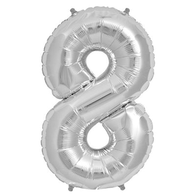 "16"" Silver Mylar Foil Number Helium Balloons"