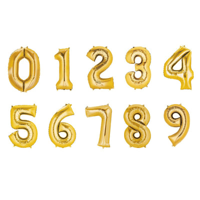 "40"" Gold Mylar Foil Number Helium Balloons"