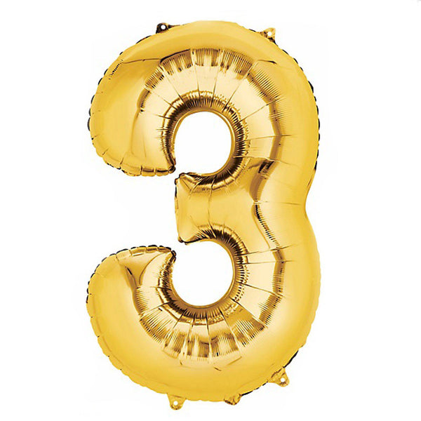 "40"" Gold Foil Helium Mylar Balloons Numbers - 3"