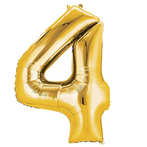 "40"" Gold Foil Helium Mylar Balloons Numbers - 4"
