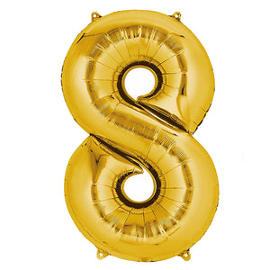 "40"" Gold Mylar Foil Number Helium Balloons - 8"