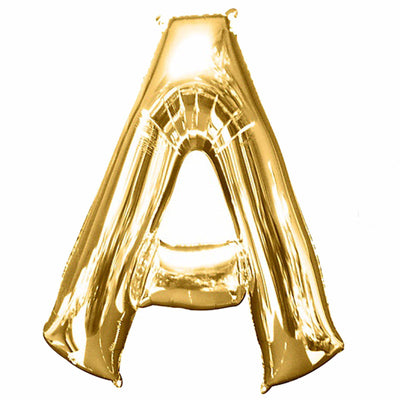 "40"" Gold Mylar Foil Letter Helium Balloons - A"