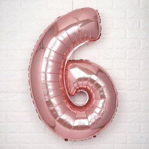 "40"" Blush Mylar Foil Number Helium Balloons - 6"