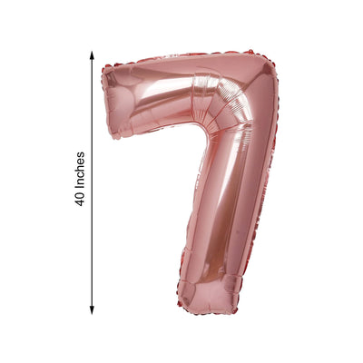 "40"" Blush Mylar Foil Number Helium Balloons - 7"