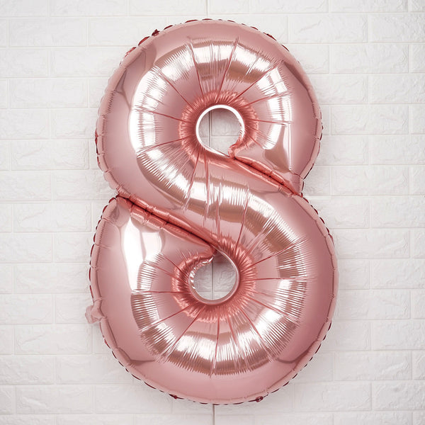 "40"" Blush Mylar Foil Number Helium Balloons - 8"