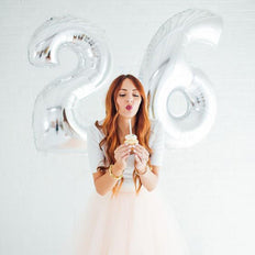 "40"" Silver Mylar Foil Number Helium Balloons"