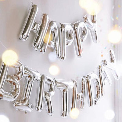 "40"" Silver Foil Helium Mylar Balloons Letters - A"